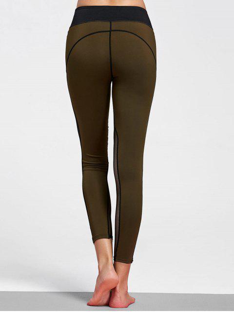 online Mesh Insert Stretchy Yoga Leggings - OLIVE GREEN M Mobile