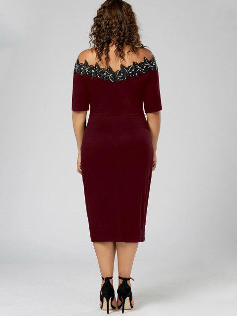 buy Plus Size Applique Trim Pencil Dress - WINE RED 2XL Mobile
