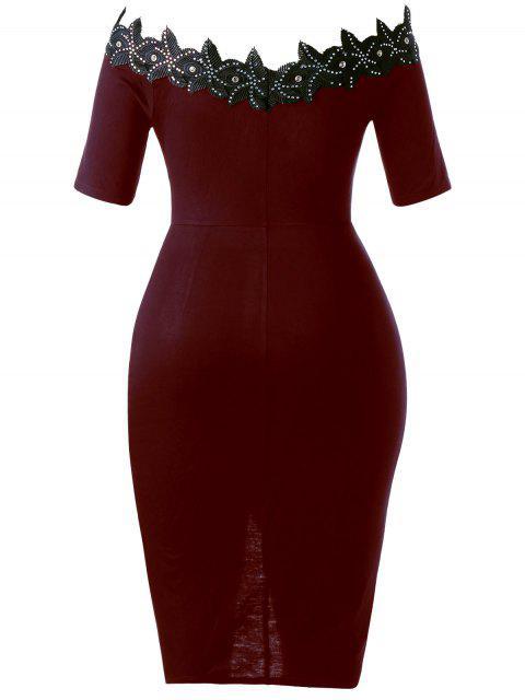 Robe à cravate ajustable en taille Plus - Rouge vineux  3XL Mobile