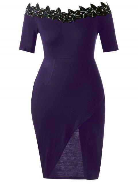 Robe à cravate ajustable en taille Plus - Pourpre 2XL Mobile