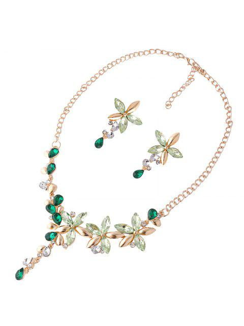 shops Faux Crystal Flower Necklace and Earring Set - GREEN  Mobile