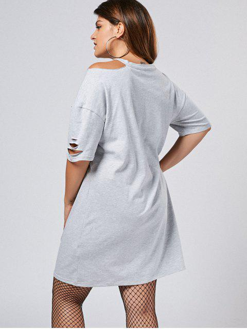 Robe à manches courtes taille grande - Gris 5XL Mobile