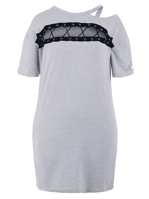 shop Plus Size Cut Out Ripped Tee Dress - GRAY 5XL Mobile