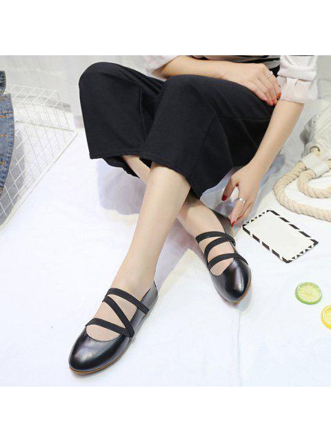 Zapatos elásticos de piel de imitación de cuero - Negro 37 Mobile