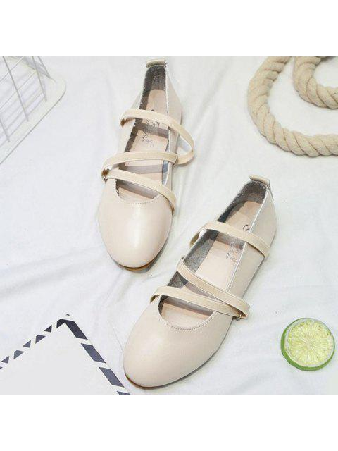 shops Elastic Band Faux Leather Flat Shoes - OFF-WHITE 39 Mobile