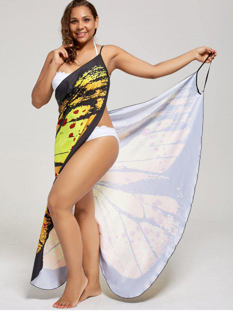 buy Plus Size Butterfly Wrap Cover Up Dress - YELLOW XL Mobile