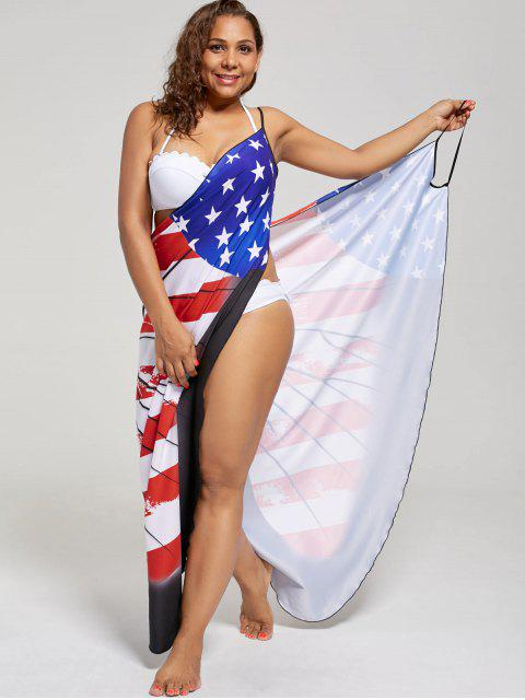 outfits Plus Size Butterfly Wrap Cover Up Dress - US FLAG 2XL Mobile