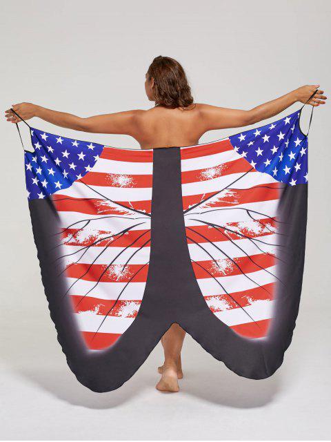 shop Plus Size Butterfly Wrap Cover Up Dress - US FLAG XL Mobile