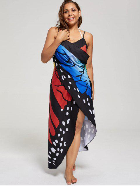 shops Plus Size Butterfly Wrap Cover Up Dress - COLORFUL 5XL Mobile