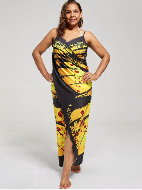 fancy Plus Size Butterfly Wrap Cover Up Dress - YELLOW 5XL Mobile