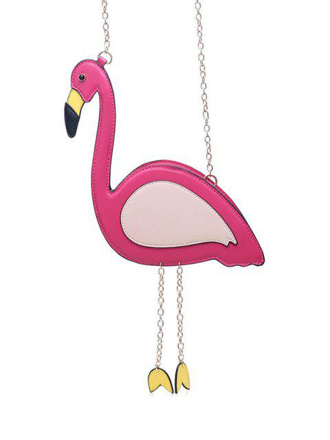 fashion Novelty Flamingo Shaped Crossbody Bag - ROSE RED  Mobile