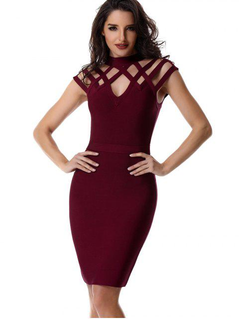 trendy High Neck Cut Out Bandage Dress - WINE RED S Mobile