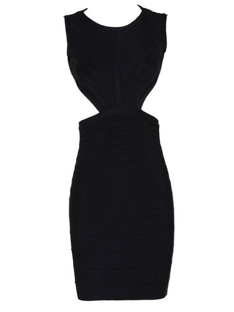 affordable Halter Open Back Bodycon Bandage Dress - BLACK S Mobile