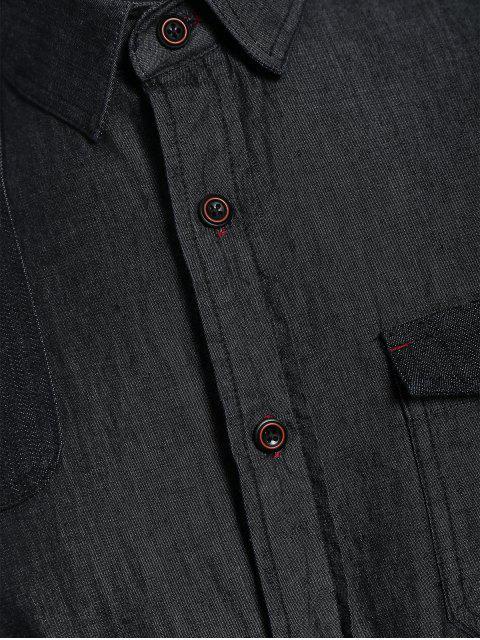 women Pocket Single Breasted Denim Shirt - BLACK XS Mobile