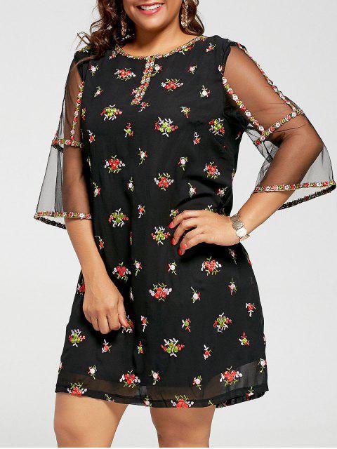 Malla Trim bordado vestido de talla más - Negro 2XL Mobile