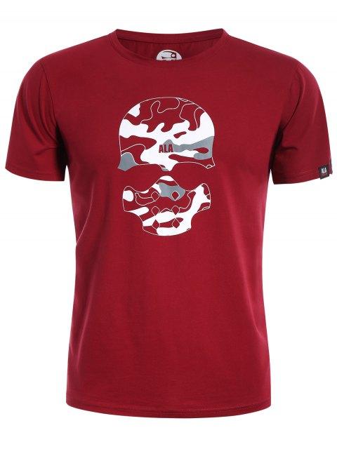 T-Shirt mit Schädel-Druck und Camo Grafik - Rot 3XL Mobile