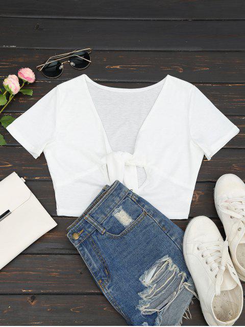 T-shirt Court Cut Out Col Plongeant - Blanc L Mobile