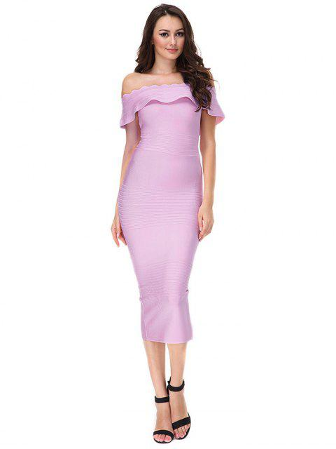 chic Off The Shoulder Flounce Bandage Dress - PINKISH PURPLE M Mobile