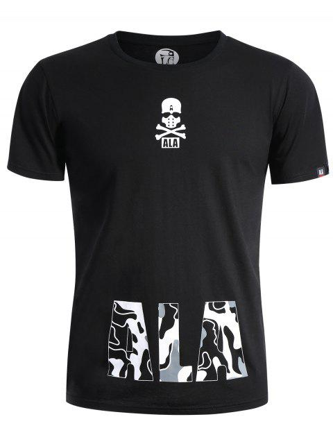 shop Round Neck Skull Print Graphic T Shirt - BLACK XL Mobile