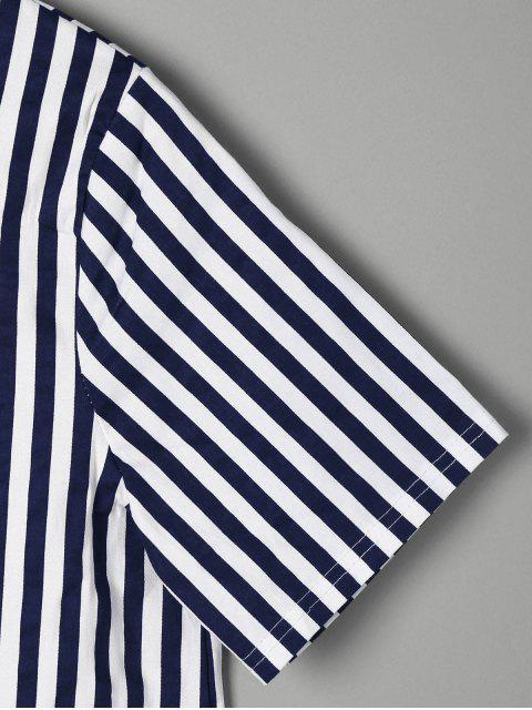 Mini Robe T-shirt Asymétriques à Rayures - Bleu M Mobile