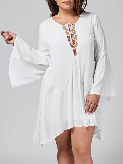 Flare Sleeve Plus Size Lace Up Dress - Branco 4xl