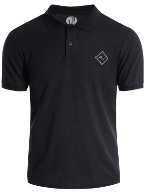 Men Embroidered Short Sleeve Polo T Shirt - Black M