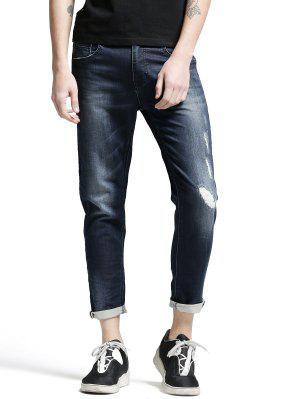 Pockets Zip Fiy Worn Jeans - Denim Blue 32