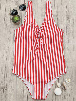Lace Up Striped One Piece Swimsuit - Red And White L
