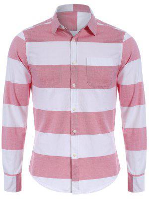 Camisa De Rayas De Bolsillo De Pecho único - Rojo+blanco 4xl