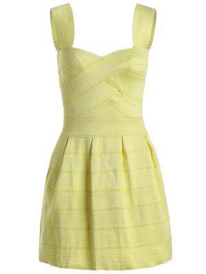 Sweetheart Neck Jacquard Puffball Dress - Yellow