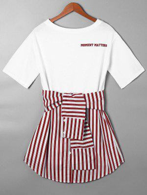 Striped Tie Belt Curved Hem Tee Dress