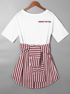 Striped Tie Belt Curved Hem Tee Dress