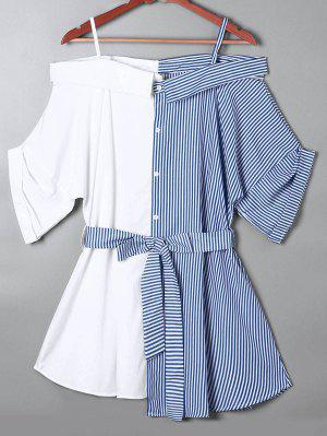 Off The Shoulder Pinstripe Blouse - Blue S