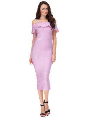De Hombro El Vestido De Vendaje Flounce - Púrpura Rosácea - Púrpura Rosácea L