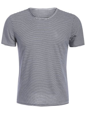 Mens Striped Crewneck Jersey Tee