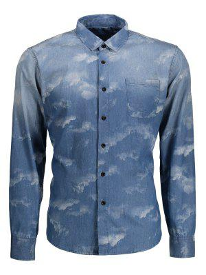 Pocket Tie Dyed Denim Shirt