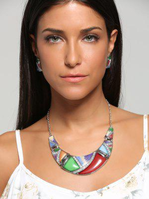Boho Geometrical Spliced Faux Gem Necklace And Earrings - Red And Green