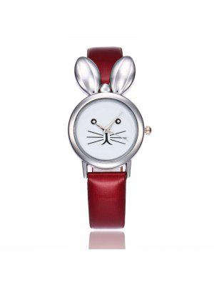 Faux Leather Strap Rabbit Ears Watch - Rouge