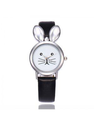 Faux Leather Strap Rabbit Ears Watch - Black