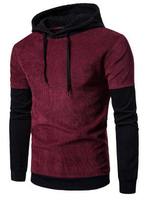 Hooded Color Block Panel Corduroy Hoodie