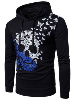 Hooded Ombre Skull and Butterfly Print Hoodie