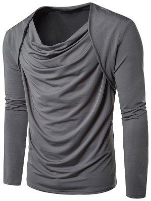 Cowl Neck Long Sleeve Hip Hop Pleated T-shirt