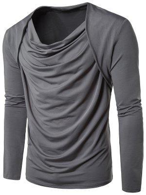 T-shirt plissé à manches longues à manches courtes Cowl Neck
