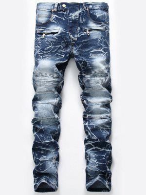 Zip Embellished Cuffed Biker Jeans