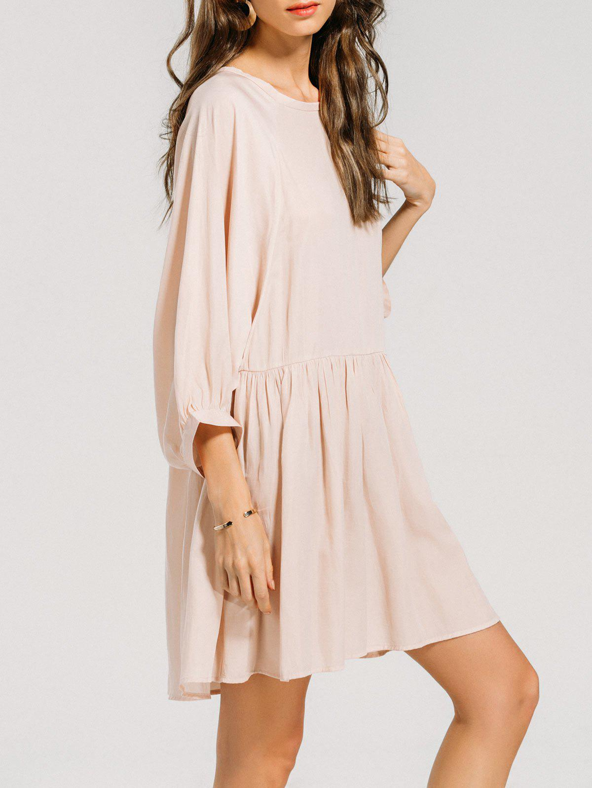 Ruffled Seam Batwing Sleeve Mini Dress 218781301