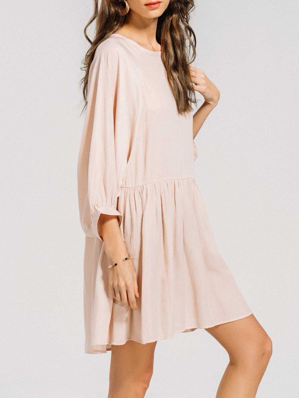Ruffled Seam Batwing Sleeve Mini Dress 218781301