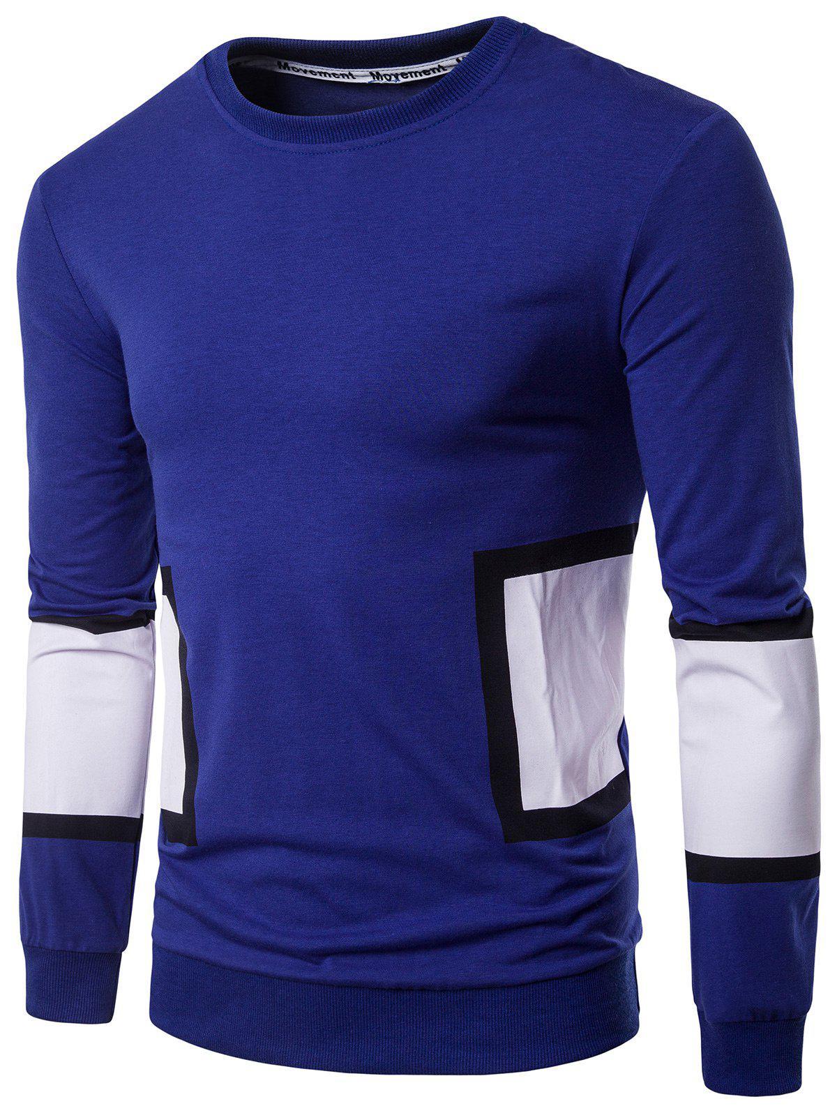 Crew Neck Color Block Panel Design Graphic Print T shirt 218913804