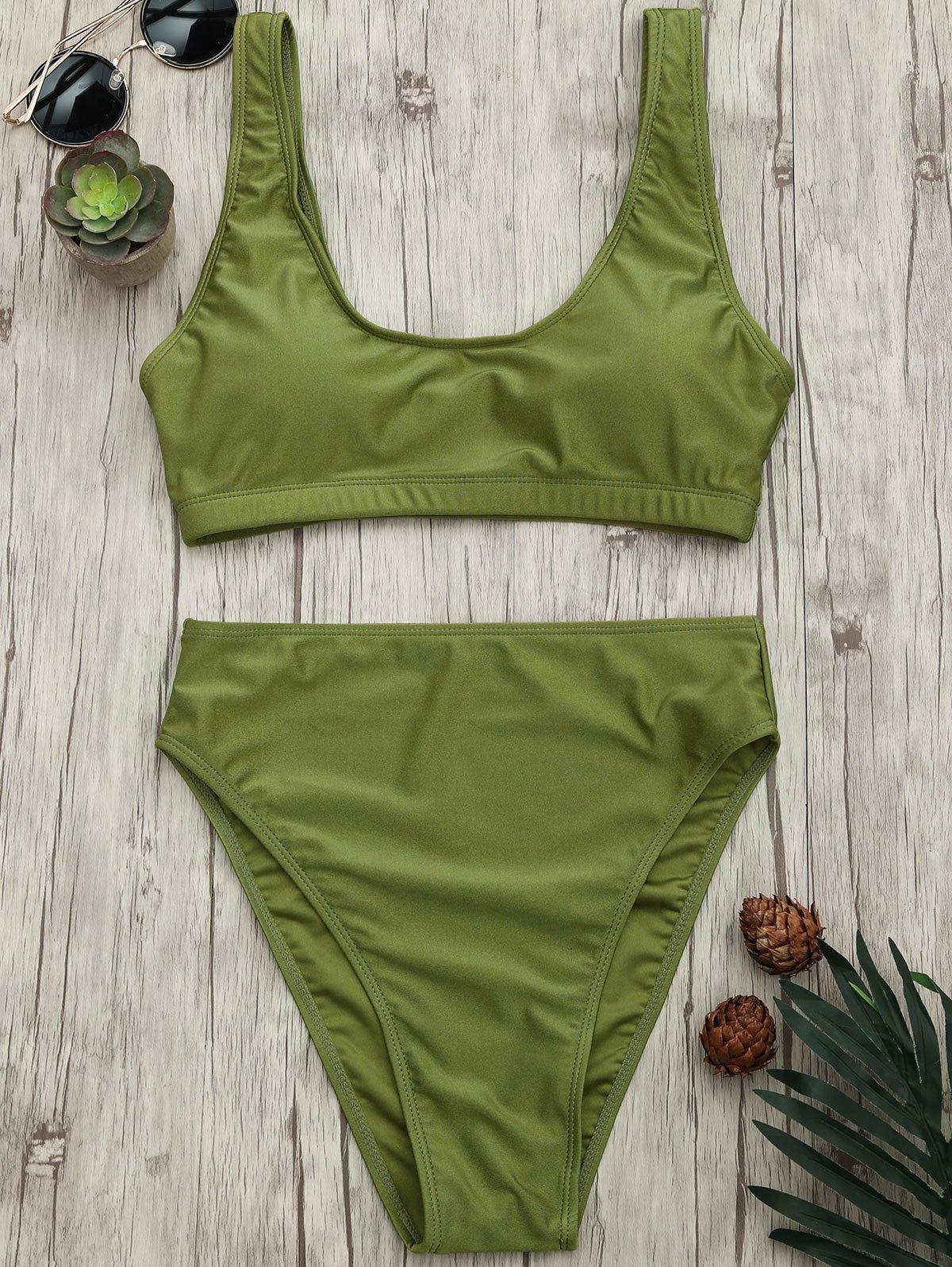 High Cut Scoop Bralette Bikini Set