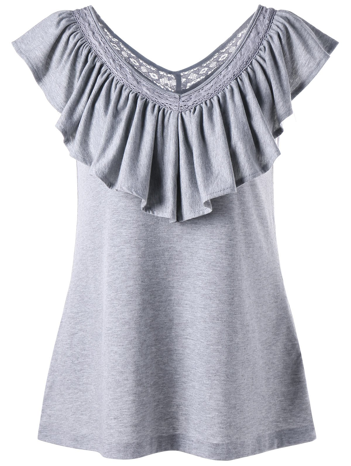 V Neck Tank Top with Ruched Ruffles 217238401