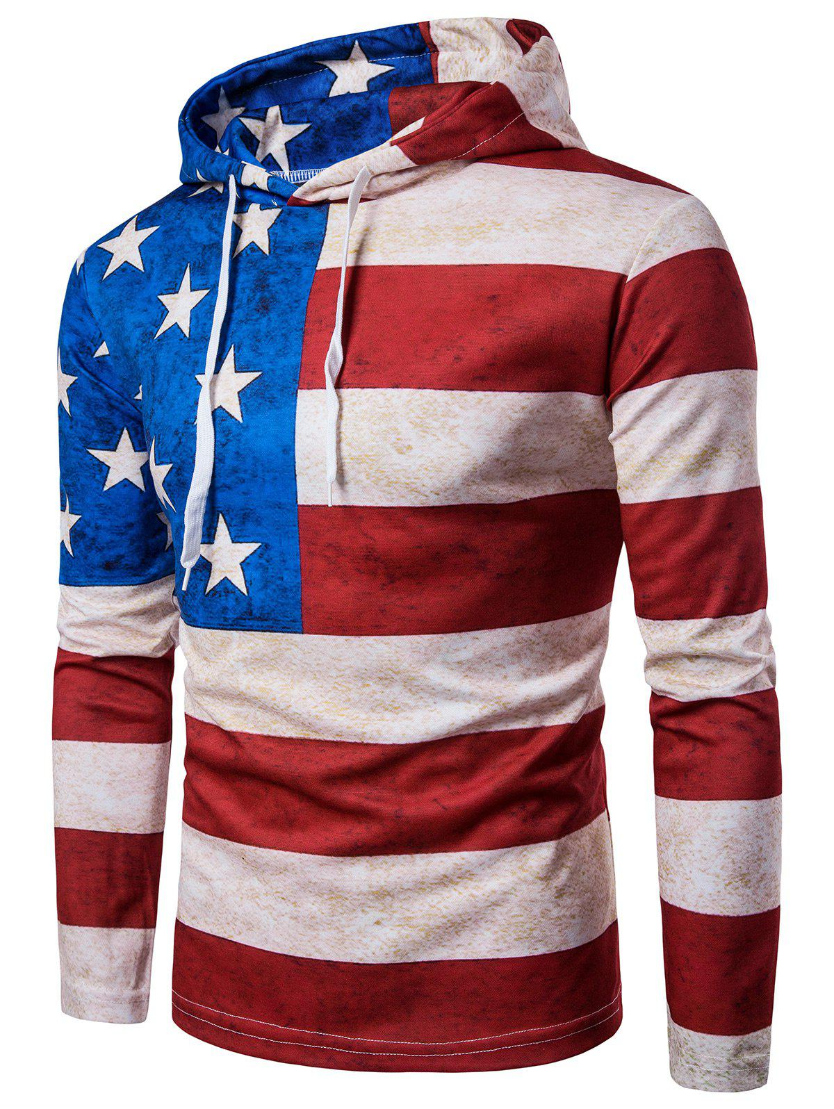 Hooded Distressed American Flag Print Hoodie 218585001